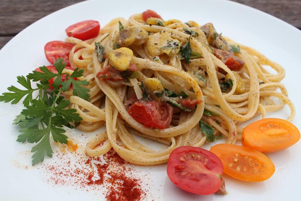 linguine with vegan clams sauce