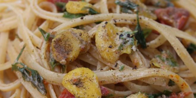 vegan clams sauce with linguine pasta recipe