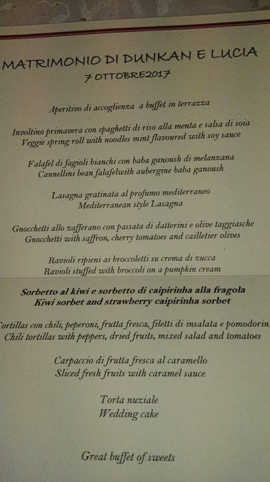 vegan wedding menu